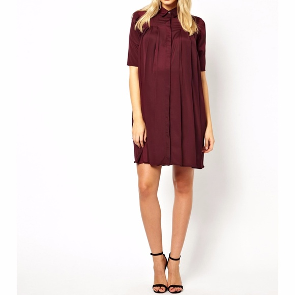 ASOS Maternity Dresses & Skirts - Asos Maternity Swing Dress with Pleats in Plum